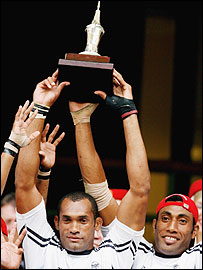 Fiji captain Semisi Naevo with the IRB Sevens series trophy