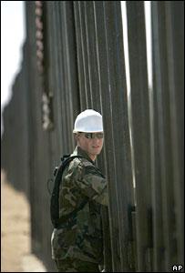A Utah National Guard soldier at the US-Mexico border in San Luis, Arizona