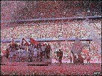 Bayern Munich celebrate winning the Bundesliga in the Allianz Arena