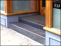 Photo of steps at the entrance of a shop