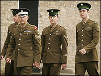 The four cleared soldiers (from left): Martin McGing, Carle Selman, James Cook, and Joseph McLeary