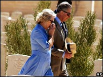 The Duchess of Cornwall weeps during a visit to El Alamein in 2006