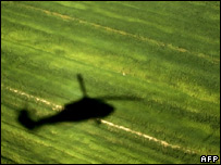 Black Hawk helicopter shadow