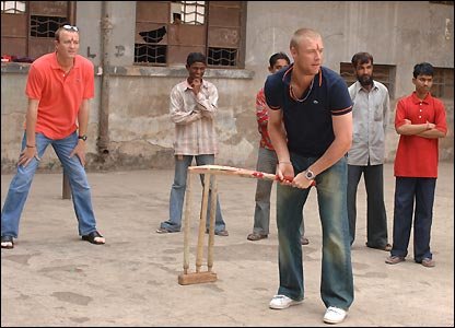 Andrew Flintoff joins up with the Sport Relief Redsocks as they drop in to play some cricket on a project visit