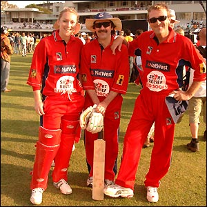 England women's cricketer Rosalie Birch, Jack Russell and Phil Tufnell add a degree of proffessionalism to proceedings