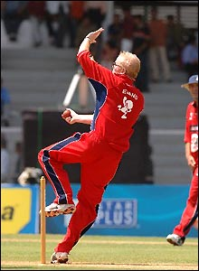 Chris Evans shows he is no slouch in the bowling department as the Red Socks go for glory at the famous Brabourne stadium