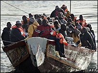 A boat carrying suspected illegal immigrants arrives in the Spanish Canary Islands