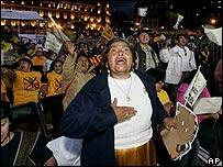 Un grupo de simpatizantes del candidato Andrés Manuel López Obrador