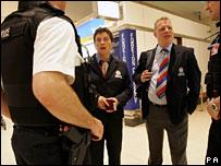 British Transport Police bound for Frankfurt talk to police at Heathrow