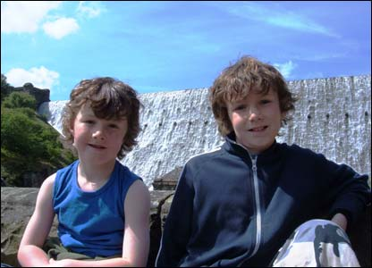 Karl Williams' sons Kallum and Owain on a day-out at the Elan Valley