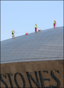 Richard Waring spotted this roof cleaners at the Wales Millennium Centre in Cardiff