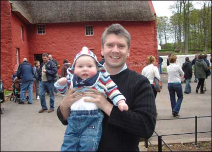 Proud father Marc Lamerton showing his seven-month-old son the sights of St Fagans