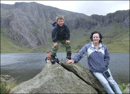 Meirion Hughes' mother and two nephews in Cwm Idwal in north Wales