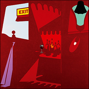 Patrick Caulfield - Happy Hour. Collection Waddington Galleries. Photo Copyright Prudence Cuming Associates. Copyright Estate of Patrick Caulfield.