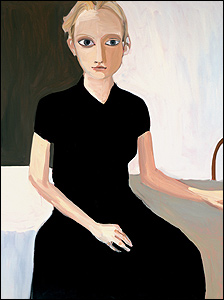 Chantal Joffe - Blond Girl - Black Dress