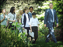 Tony Blair and school children in Downing St garden