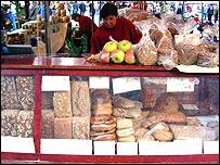 Bread stall at Nuremberg's Hauptmarkt