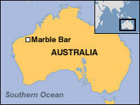 Map of Marble Bar (BBC)
