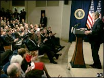 President Bush speaks at the Eisenhower Executive Office Building
