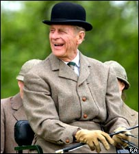 A smiling Prince Philip during a 2002 carriage driving competition