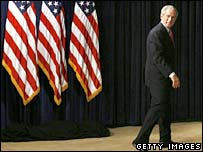 President Bush leaves after delivering remarks on the Marriage Protection Act in the Eisenhower Executive Office Building 