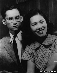 King Bhumibol and his fiancee, Sirikit Kitiyakara, in Lausanne, Switzerland, in 1949