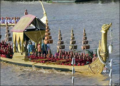 The Royal Barge sails on the Chao Phraya rive in Bangkok in preparation for the anniversary celebrations