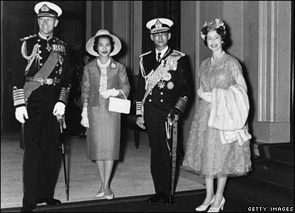 The Thai royal couple with the Queen and Prince Philip at Buckingham Palace in July 1960