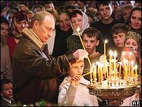 President Vladimir Putin at a Christmas service