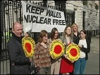 Anti-nuclear demonstrators at Downing Street