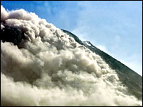 Mt Merapi emits plumes of smoke