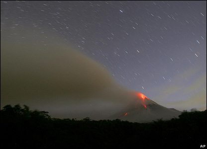 Lava on Mt Merapi glows in the early hours of the morning