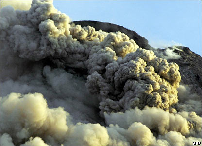 The volcano sends clouds of hot ash into the air