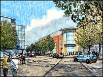 Artist's impression of Discovery Square on the ring road