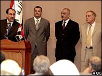 PM Nouri Maliki, National Security Minister Shirwan Waili, Interior Minister Jawad Bulani, Defence Minister Abdul Qadir Obeidi