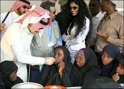 Saudi Prince Al-Walid bin Talal at a feeding programme at Sankuri Public School, near Garrisa in north-east Kenya.