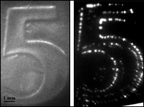 Optical image of 5 cent coin (left), device image (right) (Science)