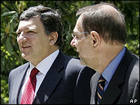 Commission President Jose Manuel Barroso (left) and EU foreign policy chief Javier Solana