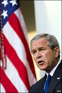 President Bush commenting on the death of Zarqawi