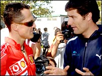 Michael Schumacher (left) and Mark Webber