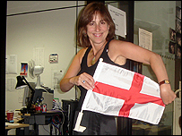 Kirsty Wark shows of the England flag