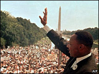 Martin Luther King addressing the March on Washington on 28 August 1963