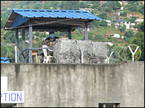UN soldier guarding the Special Cout prison