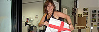 Kirsty Wark shows off the England flag