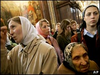 Orthodox believers queue to see the relic