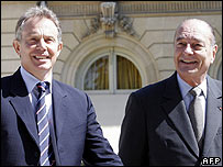 Blair and Chirac at Elysee Palace