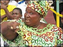 Mama Togo, the leader of the official World Cup football supporters in Togo