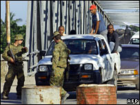 Australian troops at a checkpoint in Dili