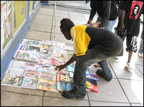 Magazine vendor on Lusaka's Cairo Road