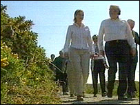 First Minister Rhodri Morgan walking on the Anglesey coastal path